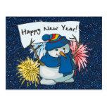 happy new year snowman postcard