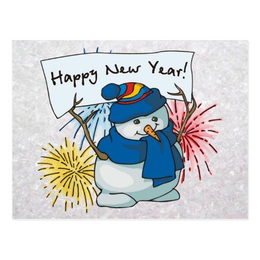 happy new year snowman postcard   Zazzle