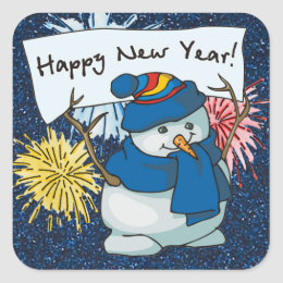 happy new year snowman square sticker