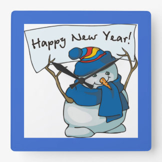 Happy New Year Snowman Square Wall Clock