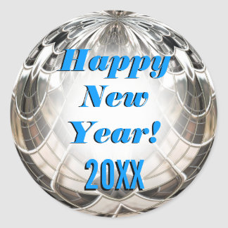 Happy New Year Sparkling Mirror Ball Cool Stickers
