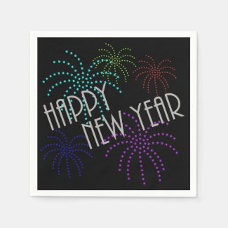 Happy New Year Star Fireworks Paper Napkins