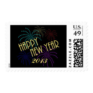 Happy New Year Star Fireworks Postage Stamps