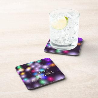 Happy New Year Star Lights Beverage Coaster