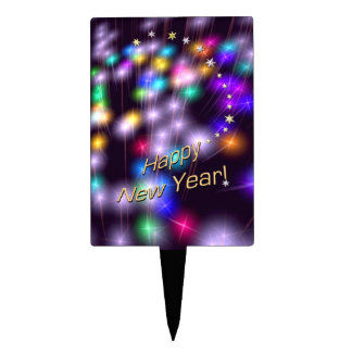 Happy New Year Star Lights Rectangular Cake Toppers
