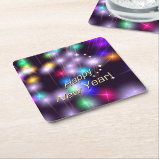 Happy New Year Star Lights Square Paper Coaster