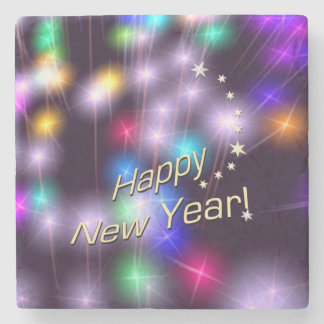 Happy New Year Star Lights Stone Coaster