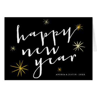 Happy New Year Starburst Holiday Greeting Card