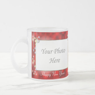 Happy New Year Stars 2-Photo Frame Frosted Glass Coffee Mug
