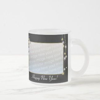 Happy New Year Stars Black 2-Photo Frame Frosted Glass Coffee Mug