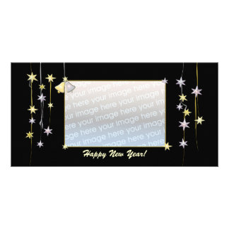 Happy New Year Stars Black Photo Card