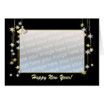 Happy New Year Stars Black Template. Cards
