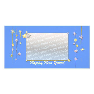 Happy New Year Stars Blue Personalized Photo Card