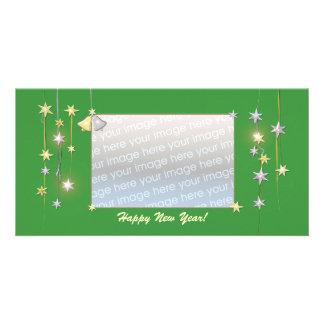 Happy New Year Stars Green Custom Photo Card