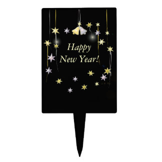 Happy New Year Stars on Black Rectangle Cake Toppers