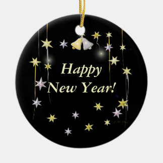 Happy New Year Stars on Black Ceramic Ornament