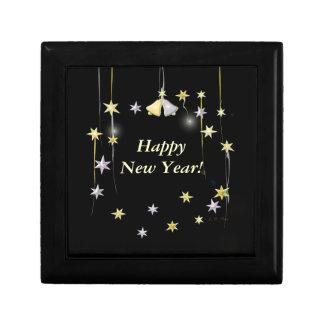 Happy New Year Stars on Black Gift Box