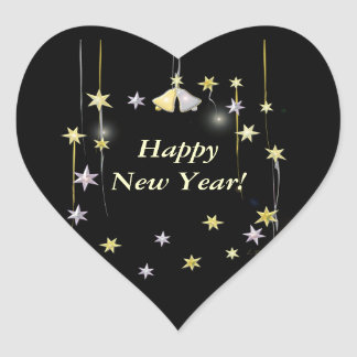 Happy New Year Stars on Black Heart Sticker