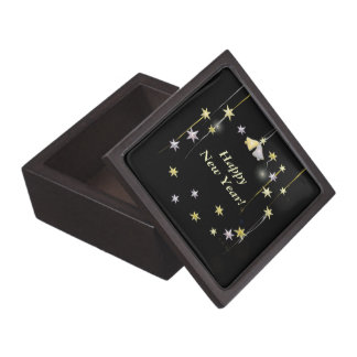 Happy New Year Stars on Black Jewelry Box