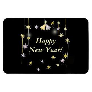 Happy New Year Stars on Black Magnet