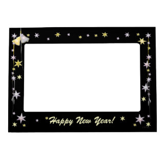 Happy New Year Stars on Black Picture Frame Magnets