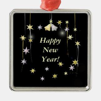 Happy New Year Stars on Black Metal Ornament