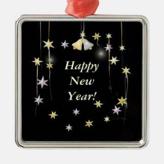 Happy New Year Stars on Black Square Metal Christmas Ornament