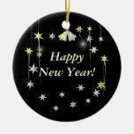 Happy New Year Stars on Black Christmas Tree Ornament
