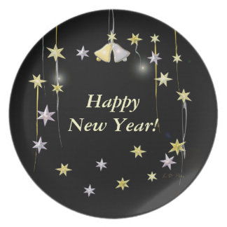 Happy New Year Stars on Black Party Plate