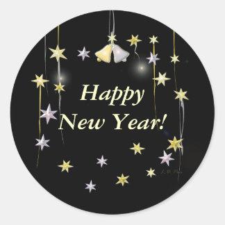 Happy New Year Stars on Black Round Sticker
