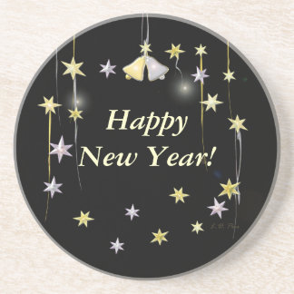 Happy New Year Stars on Black Sandstone Coaster