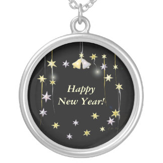 Happy New Year Stars on Black Silver Plated Necklace