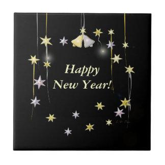 Happy New Year Stars on Black Tile