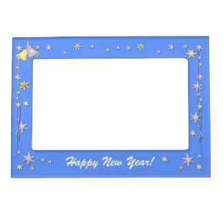Happy New Year Stars on Blue Picture Frame Magnets