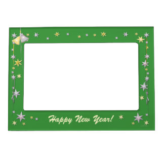 Happy New Year Stars on Green Picture Frame Magnet