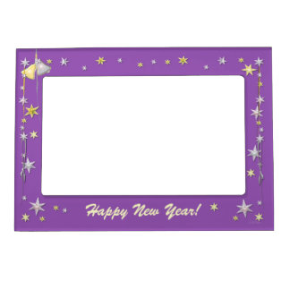 Happy New Year Stars on Purple Magnetic Photo Frame