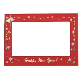 Happy New Year Stars on Red Magnetic Frame
