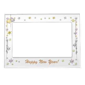 Happy New Year Stars on White Magnetic Photo Frame