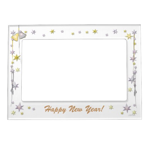 Happy New Year Stars On White Magnetic Photo Frame Zazzle