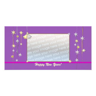 Happy New Year Stars Purple Photo Card