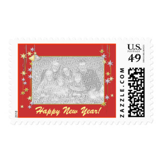 Happy New Year Stars Red Photo Frame Postage