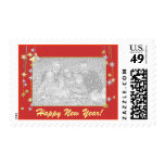 Happy New Year Stars Red Photo Frame Stamps