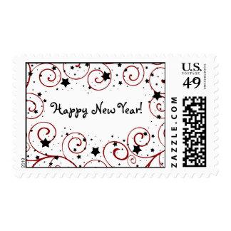 Happy New Year Stars & Swirls Stamps