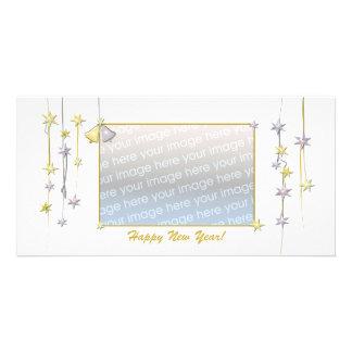 Happy New Year Stars White Custom Photo Card