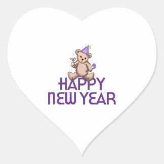 Happy New Year Heart Sticker