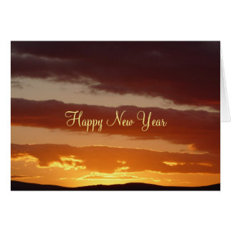 Happy New Year -Sunset over the Cheviots Card