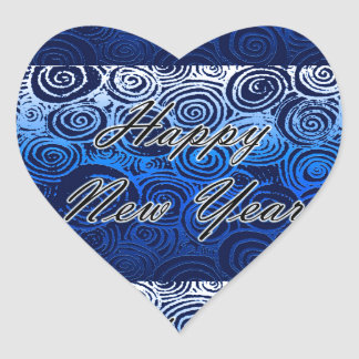 Happy New Year Swirls Blue Heart Sticker