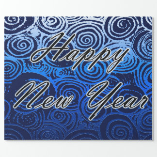 Happy New Year Swirls Blue Wrapping Paper