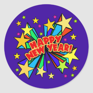 Happy New Year T-shirts, Beer Steins, Party Favors Classic Round Sticker