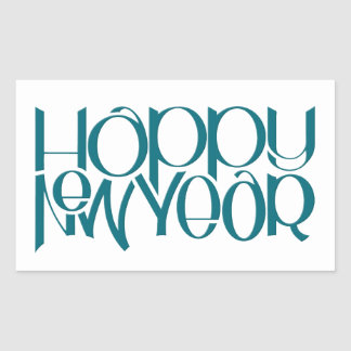 Happy New Year teal Rectangle Sticker